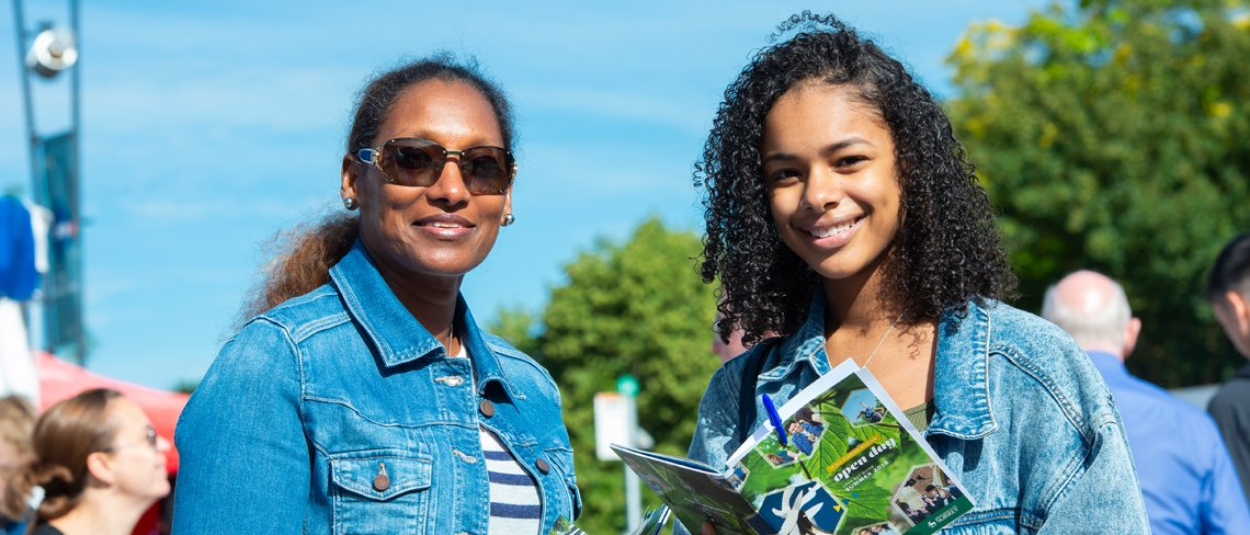 A mother and daughter at an open day at Surrey