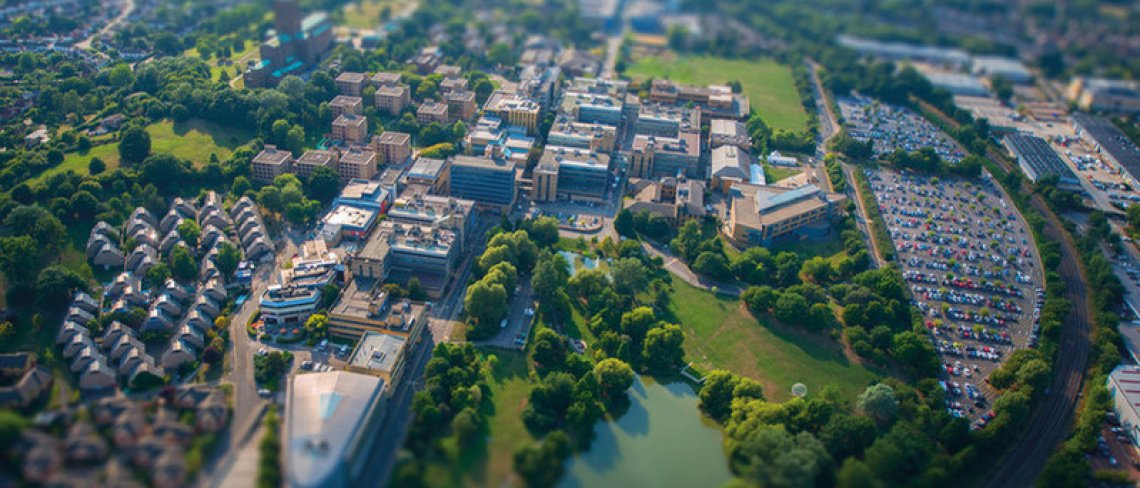 Aerial view of Surrey Stag Hill campus