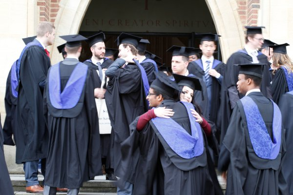 New graduates outside Guildford cathedral