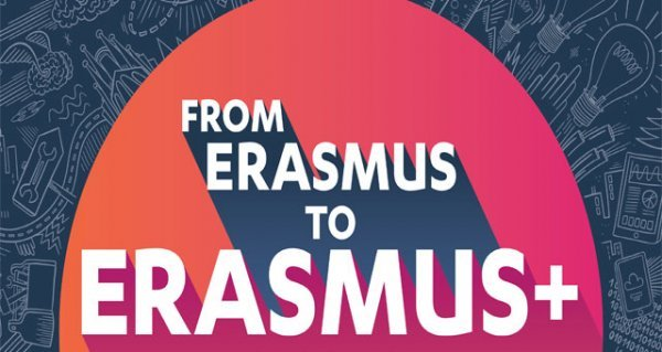 This is a logo stating from Erasmus to Erasmus+