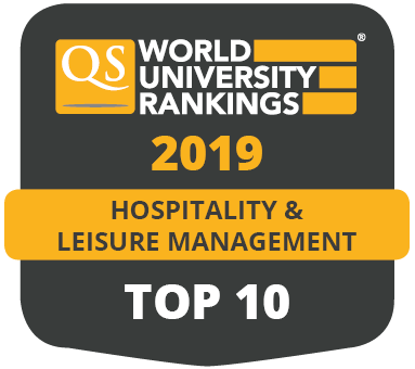 QS World University Rankings by Subject 2019 hospitality and leisure management top 10 badge.