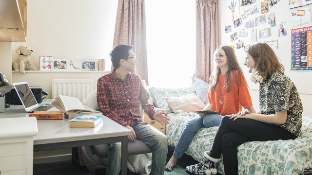Three students in International House accommodation