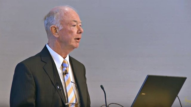 Professor Alf Adams speaking at a lecture