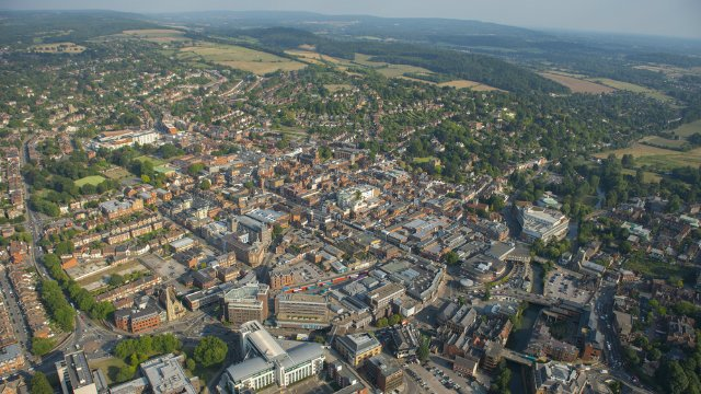 An aerial view of Guildford