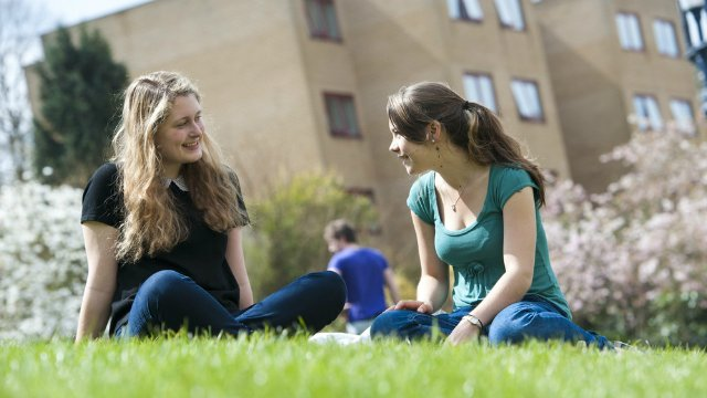 Two female students on campus