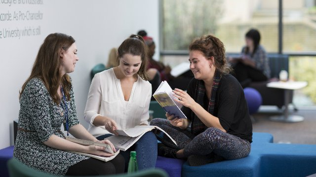 Postgraduate and placement students in library