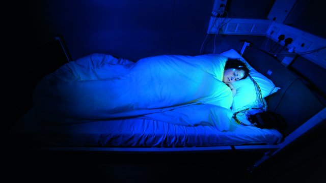 A woman participating in a sleep study