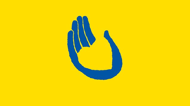 A graphic of a blue hand-print against a yellow background