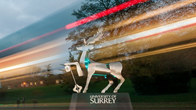 the university of surrey stag statue illuminated by car tail lights