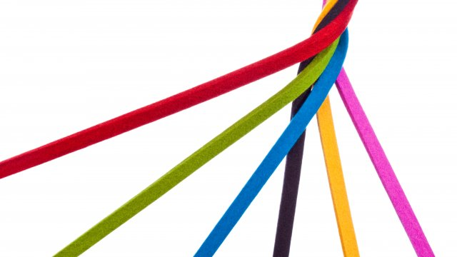 Multi-coloured ribbons wrapped together