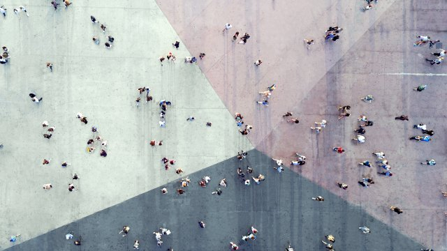 View of people walking from above