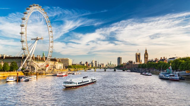 View of the London Eye from the River Thames