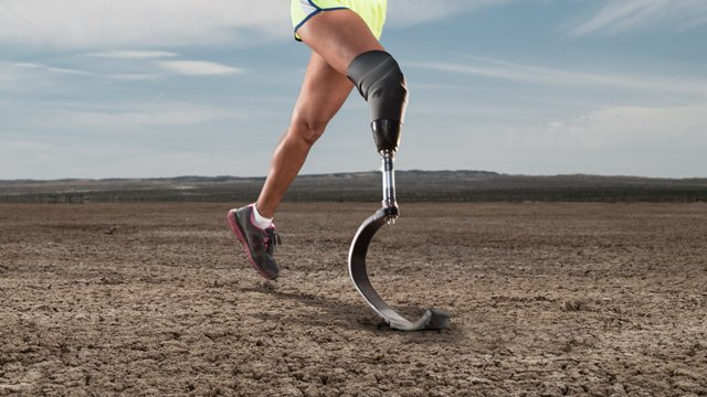 Woman running with a bionic leg