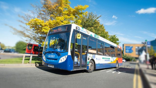 A Stagecoach bus on Surrey campus
