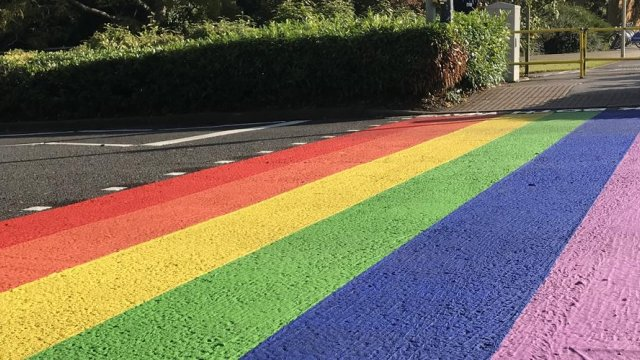 Rainbow crossing on campus