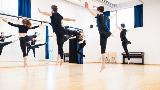 Students dancing in studio