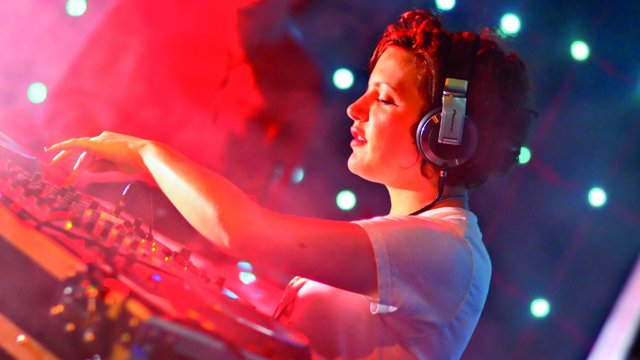 Annie Mac on the DJ decks
