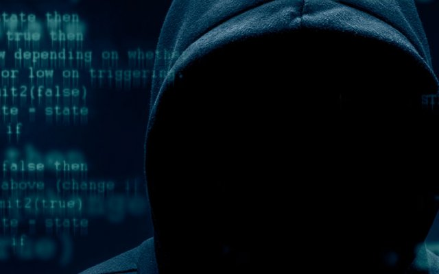 Criminal with covered face surrounded by code