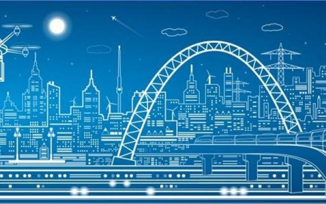 Computer image of London's skyline in blue and white