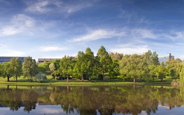 Panoramic view of the lake looking towards the university.