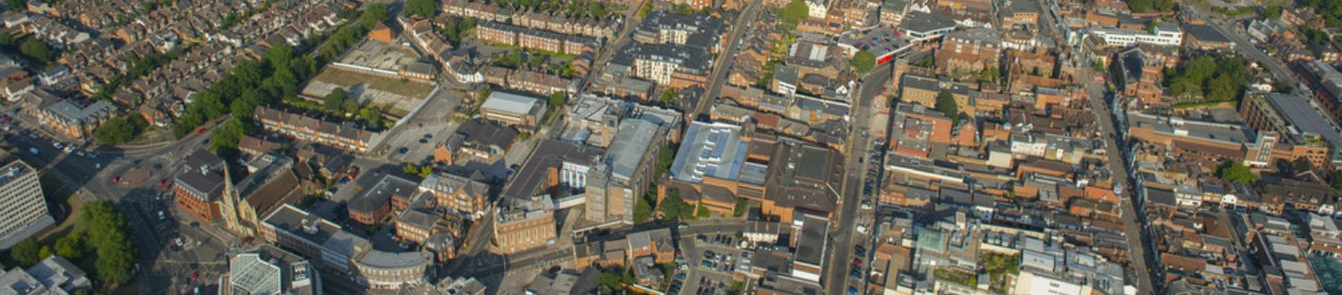 Aerial view of Guildford town centre