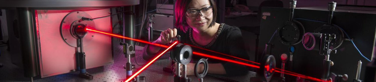 Woman using a laser