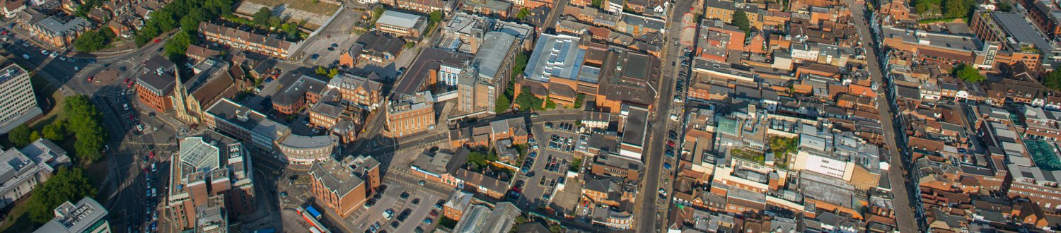 An aerial photo of Guildford town centre