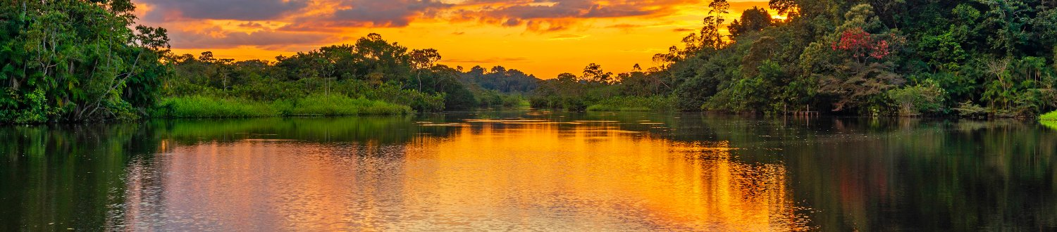 Sunset in the Amazon Rainforest.