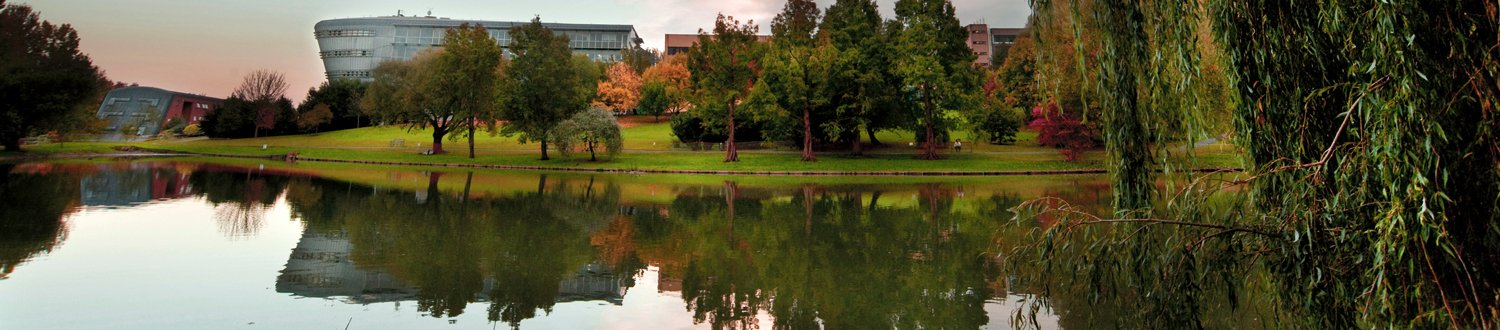 A view of the Duke of Kent building and the natural environment at the University of Surrey