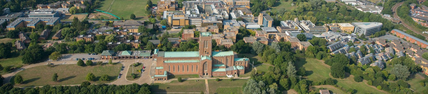 Aerial view of the University campus with the Cathedral