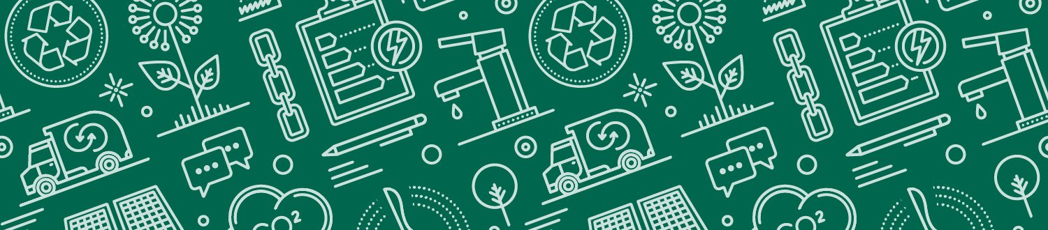A green banner with icons representing different areas of sustainability.