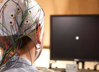 A subject in the EEG lab