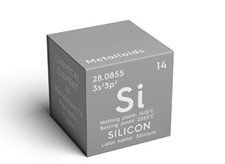 A grey cube with the chemical symbol for Silicon