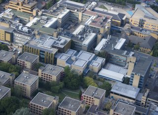 Aerial view of University of Surrey campus