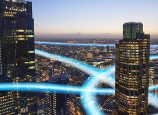 5g waves twisting around high rise office buildings