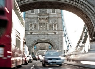 London traffic over London bridge