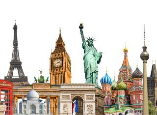 Famous landmarks across the world including Big Ben and Statue of Liberty