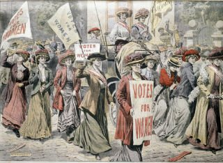 Old style image depicting the suffrage movement with women campaigning