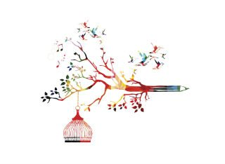 Colourful illustration of a birdcage hanging from a tree and pencil