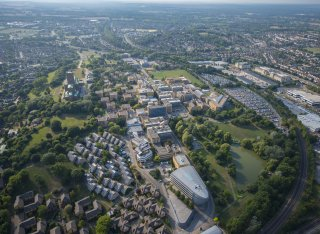 Aerial view of the University of Surrey campus