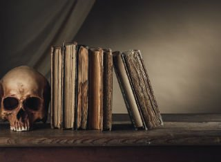 Gothic literature books sit on a shelf next to a skull