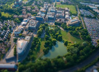 An aerial view of the Stag Hill campus at Surrey