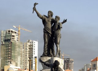 Memorial statue on Martyrs' square in the heart of downtown Beirut, Lebanon