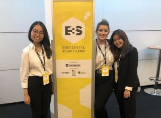 Three students at event safety and security summit