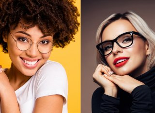 Two women wearing very different styles of glasses