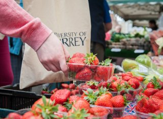 Strawberries being sold at a market at the University of Surrey