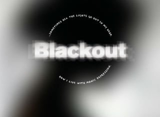 Blackout logo against the silhouette of a woman