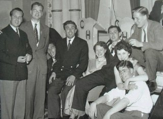Students in the 1950s at a social event