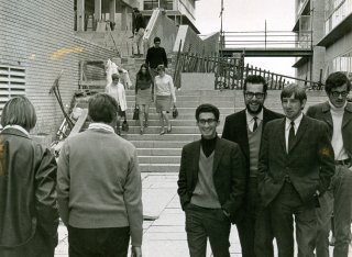 Students in 1960s walking on campus