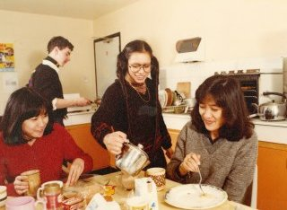 Students in a kitchen in the 1980s